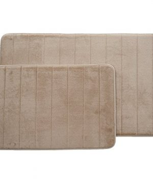 Lavish Home Set Of 2 Microfiber Memory Foam Bath Mats Plush Bathroom Rugs With Nonslip Back And Quick Drying Striped Pattern Top Taupe 0 2 300x360