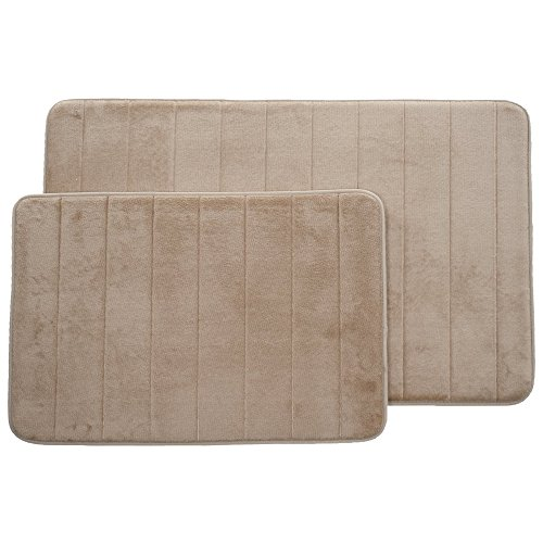 Lavish Home Set Of 2 Microfiber Memory Foam Bath Mats Plush Bathroom Rugs With Nonslip Back And Quick Drying Striped Pattern Top Taupe 0 2