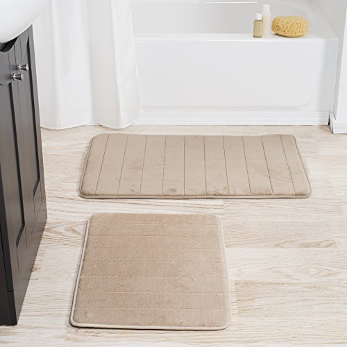 Lavish Home Set Of 2 Microfiber Memory Foam Bath Mats Plush Bathroom Rugs With Nonslip Back And Quick Drying Striped Pattern Top Taupe 0