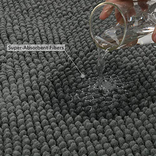 Lifewit Bath Runner Rug Chenille Area Mat Rugs For Bathroom Kitchen Entryway Bedroom Machine Washable Water Absorbent With Non Slip Rubber Collection Shag Rug 22 X 511 Grey 0 1