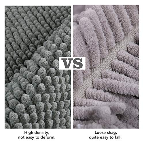 Lifewit Bath Runner Rug Chenille Area Mat Rugs For Bathroom Kitchen Entryway Bedroom Machine Washable Water Absorbent With Non Slip Rubber Collection Shag Rug 22 X 511 Grey 0 3