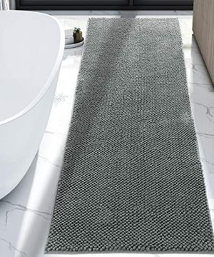 Lifewit Bath Runner Rug Chenille Area Mat Rugs For Bathroom Kitchen Entryway Bedroom Machine Washable Water Absorbent With Non Slip Rubber Collection Shag Rug 22 X 511 Grey 0 300x360