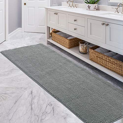 Lifewit Bath Runner Rug Chenille Area Mat Rugs For Bathroom Kitchen Entryway Bedroom Machine Washable Water Absorbent With Non Slip Rubber Collection Shag Rug 22 X 511 Grey 0 5