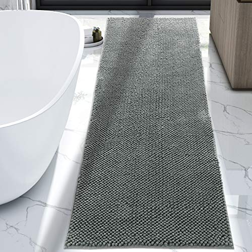 Lifewit Bath Runner Rug Chenille Area Mat Rugs For Bathroom Kitchen Entryway Bedroom Machine Washable Water Absorbent With Non Slip Rubber Collection Shag Rug 22 X 511 Grey 0