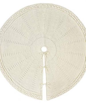LimBridge Christmas Tree Skirt 48 Inches Cable Knit Knitted Thick Rustic Xmas Holiday Decoration Cream 0 0 300x360