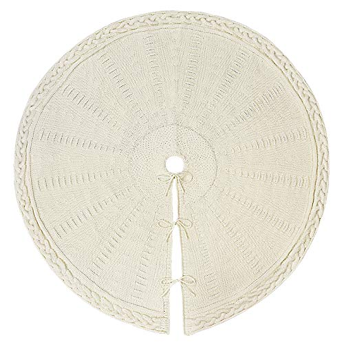 LimBridge Christmas Tree Skirt 48 Inches Cable Knit Knitted Thick Rustic Xmas Holiday Decoration Cream 0 0