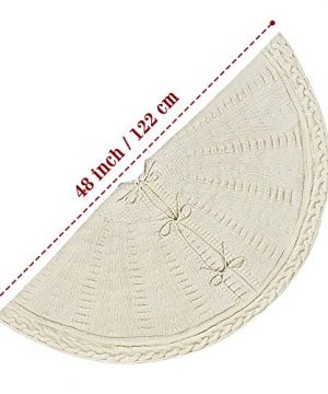 LimBridge Christmas Tree Skirt 48 Inches Cable Knit Knitted Thick Rustic Xmas Holiday Decoration Cream 0 1 300x360