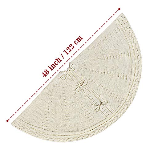 LimBridge Christmas Tree Skirt 48 Inches Cable Knit Knitted Thick Rustic Xmas Holiday Decoration Cream 0 1