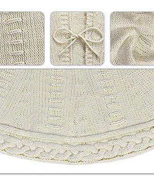 LimBridge Christmas Tree Skirt 48 Inches Cable Knit Knitted Thick Rustic Xmas Holiday Decoration Cream 0 2 300x360