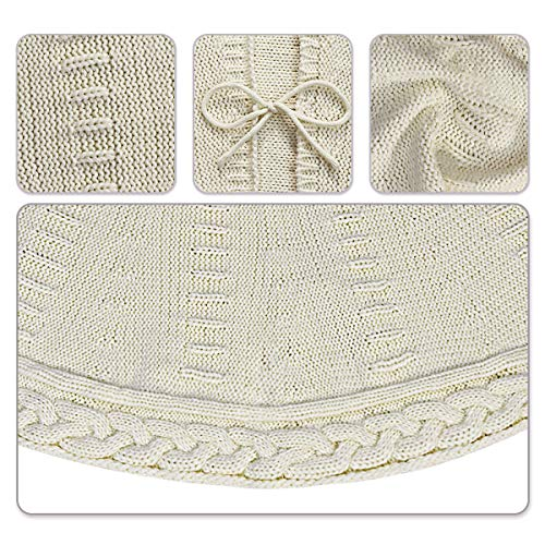 LimBridge Christmas Tree Skirt 48 Inches Cable Knit Knitted Thick Rustic Xmas Holiday Decoration Cream 0 2