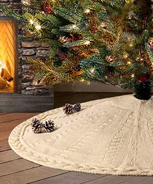 LimBridge Christmas Tree Skirt 48 Inches Cable Knit Knitted Thick Rustic Xmas Holiday Decoration Cream 0 300x360