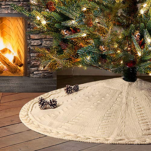 LimBridge Christmas Tree Skirt 48 Inches Cable Knit Knitted Thick Rustic Xmas Holiday Decoration Cream 0