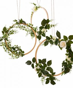Lings Moment Hoop Wreath Greenery Wreath Wedding Decor Floral Wreaths Set Of 3 Rustic Wedding Backdrop Nursery Decor Greenery Decor Boho Hula Wedding Decoration Artificial Flowers Garland 0 300x360