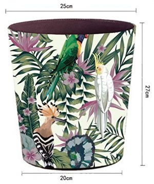 Lingxuinfo Retro Style Small Trash Can Wastebasket Decorative Trash Can Waste Paper Basket Waste Container Bin For Bathroom Bedroom Office And More 10L Capacity Parrot Green Leaf 0 0 300x360