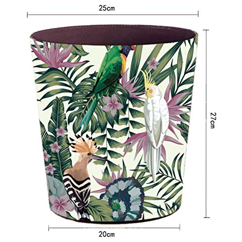 Lingxuinfo Retro Style Small Trash Can Wastebasket Decorative Trash Can Waste Paper Basket Waste Container Bin For Bathroom Bedroom Office And More 10L Capacity Parrot Green Leaf 0 0