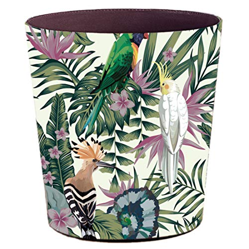 Lingxuinfo Retro Style Small Trash Can Wastebasket Decorative Trash Can Waste Paper Basket Waste Container Bin For Bathroom Bedroom Office And More 10L Capacity Parrot Green Leaf 0