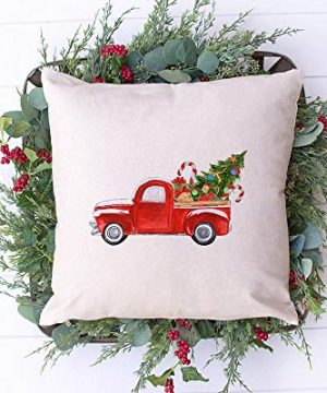 Little Red Truck Farmhouse Presents Tree Christmas Holiday Pillow Cover 16 X 16 Hidden Zipper Linen Decorative Pillow Cushion Case For Bed Living Room Sofa Couch Bedroom Home Decor 0 300x360