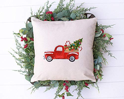 Little Red Truck Farmhouse Presents Tree Christmas Holiday Pillow Cover 16 X 16 Hidden Zipper Linen Decorative Pillow Cushion Case For Bed Living Room Sofa Couch Bedroom Home Decor 0