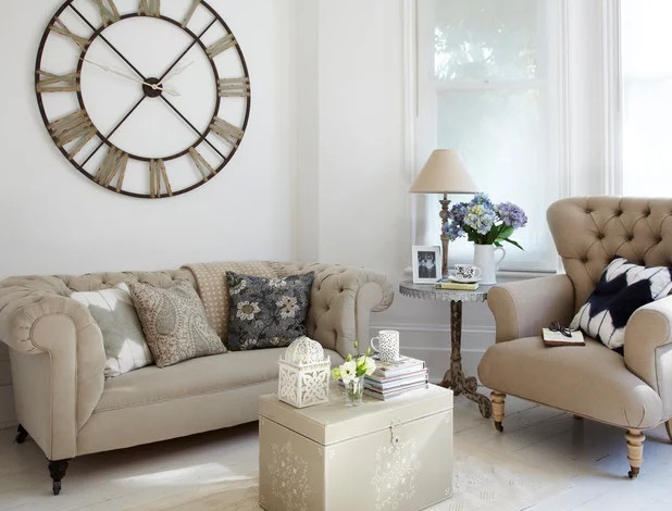Living Room with Clock by rigby & mac