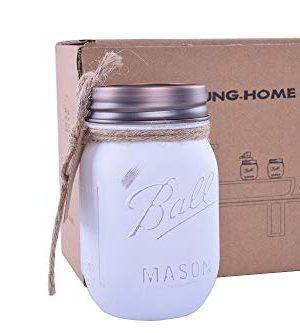 Liyoung Mason Jar Soap DispenserMason Jar Toothbrush HolderMason Bathroom Decor Painted White Mason Jar Bathroom Set 2 Pack 1 0 1 300x333
