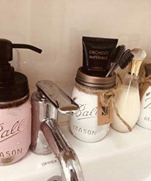 Liyoung Mason Jar Soap DispenserMason Jar Toothbrush HolderMason Bathroom Decor Painted White Mason Jar Bathroom Set 2 Pack 1 0 4 300x360