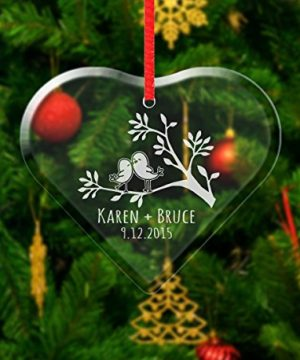 Love Birds Personalized Custom Ornament Our First Christmas Dating Anniversary Gift For Boyfriend Girlfriend Married Couples Holiday Etched Gifts 0 300x360