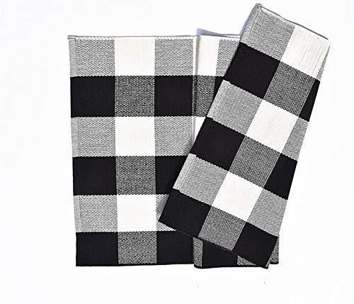 Love Happy Buffalo Check Plaid Bath Runner Cotton Plaid Checkered Bath Mat Kitchen Mat Entry Way Bath Doormat Bedroom Carpet 24 X 35 A Black And White 0 0