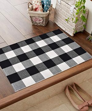 Love Happy Buffalo Check Plaid Bath Runner Cotton Plaid Checkered Bath Mat Kitchen Mat Entry Way Bath Doormat Bedroom Carpet 24 X 35 A Black And White 0 1 300x360