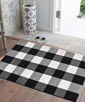 Love Happy Buffalo Check Plaid Bath Runner Cotton Plaid Checkered Bath Mat Kitchen Mat Entry Way Bath Doormat Bedroom Carpet 24 X 35 A Black And White 0 2 300x360