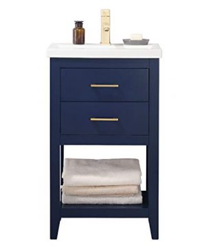 Luca Kitchen Bath LC20FBP Dublin 20 Bathroom Vanity Set In Midnight Blue Made With Hardwood And Integrated Porcelain Top 0 300x360