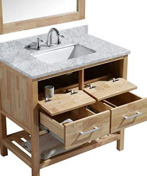 Luca Kitchen Bath LC36BOW Valencia 36 Single Vanity Set In Honey Oak With Carrara Marble Top Sink And Mirror 0 0 300x360