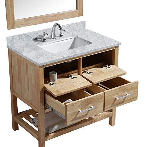 Luca Kitchen Bath LC36BOW Valencia 36 Single Vanity Set In Honey Oak With Carrara Marble Top Sink And Mirror 0 0