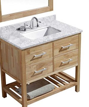 Luca Kitchen Bath LC36BOW Valencia 36 Single Vanity Set In Honey Oak With Carrara Marble Top Sink And Mirror 0 1 300x360