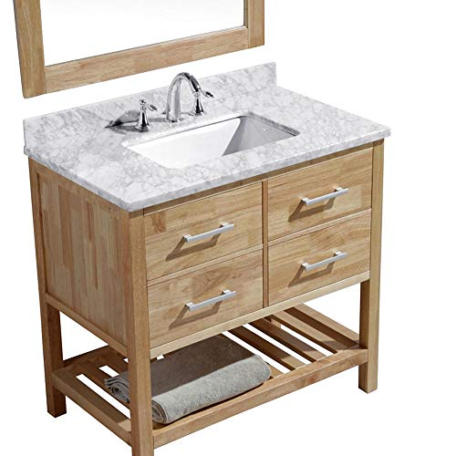 Luca Kitchen Bath LC36BOW Valencia 36 Single Vanity Set In Honey Oak With Carrara Marble Top Sink And Mirror 0 1