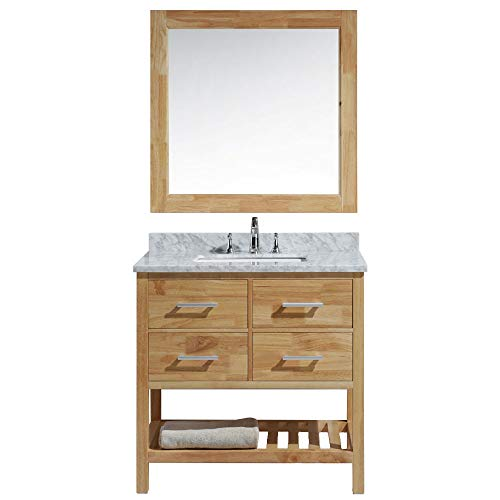 Luca Kitchen Bath LC36BOW Valencia 36 Single Vanity Set In Honey Oak With Carrara Marble Top Sink And Mirror 0