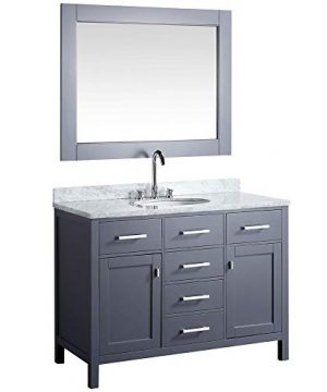 Luca Kitchen Bath LC48CGW Geneva 48 Single Vanity Set In Gray With Carrara Marble Top Sink And Mirror 0 300x360