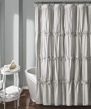 Lush Decor Darla Ruched Floral Bathroom Shower Curtain X 72 Light Gray 0 300x360