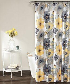 Lush Decor Leah Shower Curtain Bathroom Flower Floral Large Blooms Fabric Print Design 72 X 72 YellowGray 0 300x360