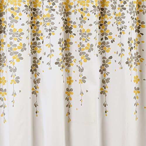 Lush Decor Weeping Flower Shower Curtain Fabric Floral Vine Print Design 72 X 72 Yellow Gray 0 2
