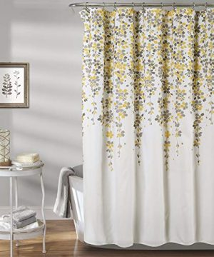 Lush Decor Weeping Flower Shower Curtain Fabric Floral Vine Print Design 72 X 72 Yellow Gray 0 300x360