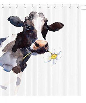 MAEZAP Cow Farmhouse Fall Shower Curtain Animal Painting Art Bathroom Decor Waterproof Polyester With Hooks 69x70 Inchs 0 300x360