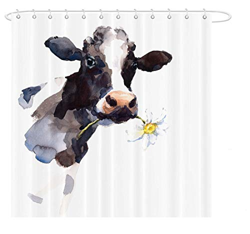 MAEZAP Cow Farmhouse Fall Shower Curtain Animal Painting Art Bathroom Decor Waterproof Polyester With Hooks 69x70 Inchs 0
