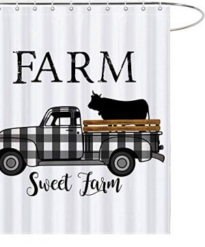 MAEZAP Farm Sweet Farm Farmhouse Fall Cow Shower Curtain Black And White Check Plaids Truck Bathroom Decor Waterproof Polyester With Hooks 69x70 Inchs 0 300x360