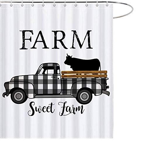MAEZAP Farm Sweet Farm Farmhouse Fall Cow Shower Curtain Black And White Check Plaids Truck Bathroom Decor Waterproof Polyester With Hooks 69x70 Inchs 0