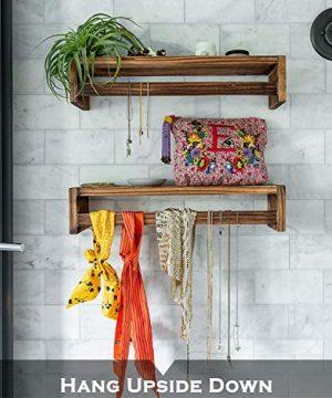MAINEVENT Set Of 2 Rustic Wood Floating Nursery Shelves Wall Shelves For Farmhouse Bathroom Decor Kitchen Spice Rack Or Book Shelf Organizer For Baby Nursery Decor Brown 0 2 300x360