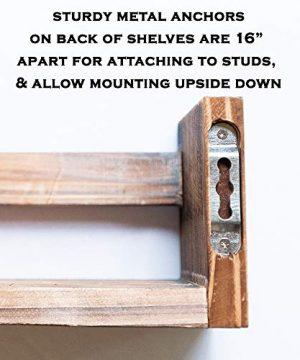 MAINEVENT Set Of 2 Rustic Wood Floating Nursery Shelves Wall Shelves For Farmhouse Bathroom Decor Kitchen Spice Rack Or Book Shelf Organizer For Baby Nursery Decor Brown 0 3 300x360