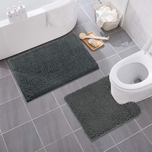 MAYSHINE Bathroom Rug Toilet Sets And Shaggy Non Slip Machine Washable Soft Microfiber Bath Contour Mat Dark Gray 32x20 20x20 Inches U Shaped 0 1