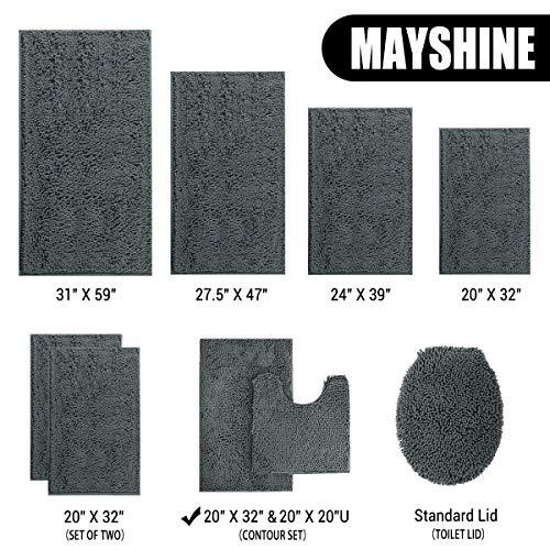 MAYSHINE Bathroom Rug Toilet Sets And Shaggy Non Slip Machine Washable Soft Microfiber Bath Contour Mat Dark Gray 32x20 20x20 Inches U Shaped 0 3
