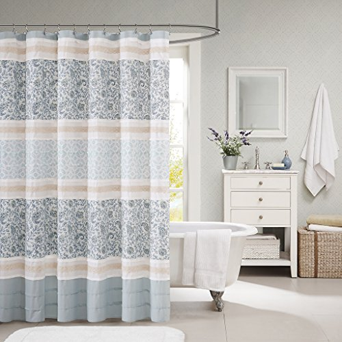 Madison Park MP70 2493 Dawn Cotton Shower Curtain 72x72 Blue 0