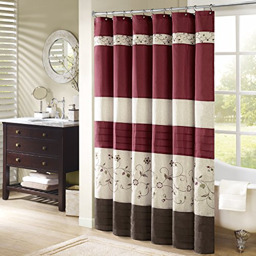 Madison Park Serene Flora Fabric Embroidered Transitional Shower Curtains For Bathroom 72 X 84 Red 0 0